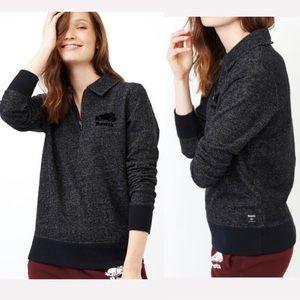 Roots Quarter Zip Dark Pepper Sweater